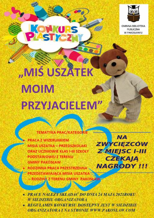 """KONKURS PLASTYCZNY PT. """"MIŚ USZATEK MOIM PRZYJACIELEM"""""""