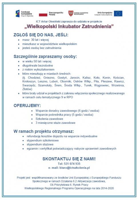 """Projekt """"Wielkopolski Inkubator Zatrudnienia"""""""