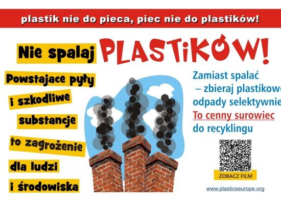 Kampania plastik nie do pieca, piec nie do plastików