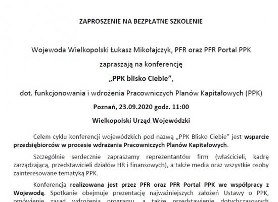 """Konferencja wojewódzka """"PPK blisko Ciebie"""" pod honorowym patronatem Wojewody Wielkopolskiego"""