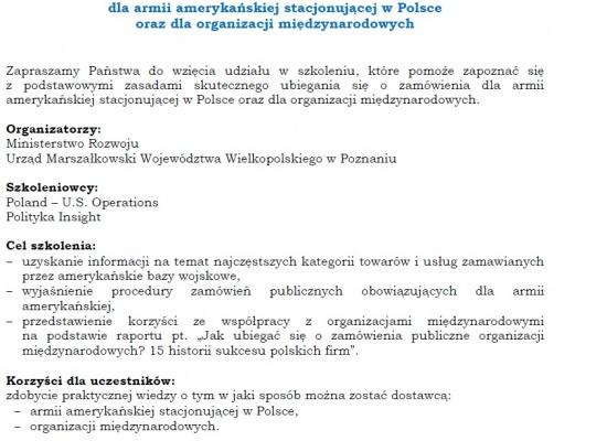Zaproszenie na szkolenie specjalistyczne - współpraca z bazami USA